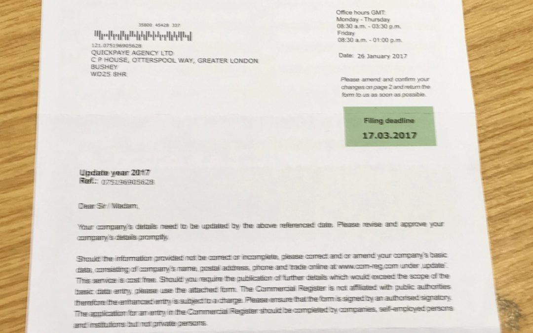 SCAM BEWARE! – LETTER REQUESTING AN UPDATE TO YOUR COMPANY DETAILS ON COMMERCIAL REGISTER!